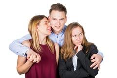Couples heureux et amie ex frustrée Photo libre de droits