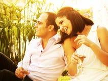 Couples heureux extérieurs photographie stock