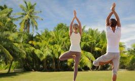 Couples heureux faisant des exercices de yoga sur la plage Photo stock
