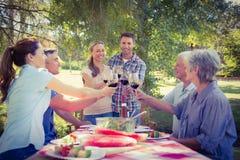 Couples heureux grillant avec leur famille Image stock