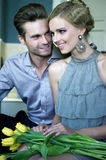Couples heureux la datte Images libres de droits