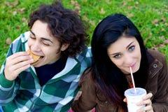 Couples heureux mangeant l'hamburger et la soude d'aliments de préparation rapide en parc Photo stock