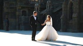 Couples heureux mignons de nouveaux mariés ayant l'amusement près du vieux mur de château banque de vidéos