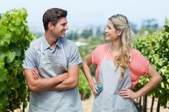 Couples heureux regardant l'un l'autre tout en se tenant dans le vignoble Photographie stock