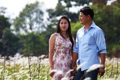 Couples heureux restant dans la prairie, retenant des mains Photo stock