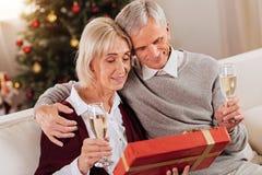 Couples heureux se reposant ensemble dans le salon Photographie stock