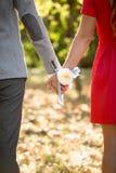 Couples heureux tenant des mains au parc Images libres de droits