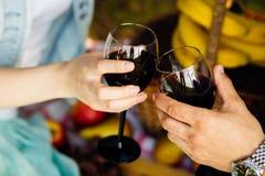 Couples heureux - vin potable d'homme et de femme Photographie stock