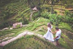 Couples heureux voyageant chez Bali, terrasses de riz de Tegalalang, Ubud images stock
