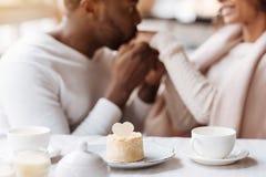 Couples hilares d'Afro-américain tenant des mains dans le café Images libres de droits