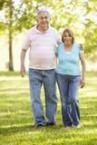 Couples hispaniques aînés marchant en stationnement Photo libre de droits