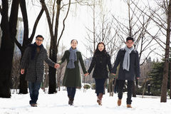 Couples holding hands in park covered in snow Stock Photo