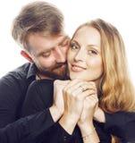 Couples, homme et femme tendres de jeunes dans l'amour sur le blanc Image stock