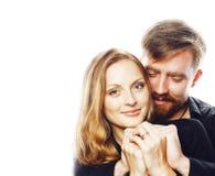 Couples, homme tendre et femme de jeunes dans l'amour d'isolement sur le blanc Photos stock
