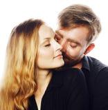Couples, homme tendre et femme de jeunes dans l'amour d'isolement sur le blanc, FO Photo stock