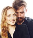 Couples, homme tendre et femme de jeunes dans l'amour d'isolement sur le blanc, FO Image stock