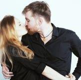 Couples, homme tendre et femme de jeunes dans l'amour d'isolement sur le blanc, FO Photographie stock