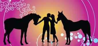 Couples in horses. We present young Couples in horses vector object. Happy Valentines day! See our other vector couples Stock Images