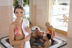 Couples in hot tub Stock Image