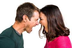 Couples hurlant tout en se tenant tête à tête Photographie stock libre de droits