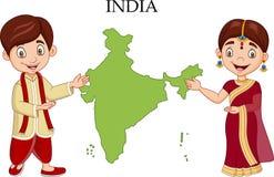 Couples indiens de bande dessinée utilisant le costume traditionnel illustration libre de droits