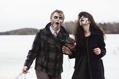 Couples infectés heureusement malades Photos libres de droits