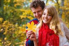 Couples jouant avec la feuille en parc d'automne Image stock