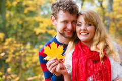 Couples jouant avec la feuille en parc d'automne Photographie stock libre de droits