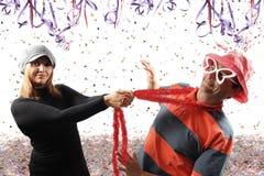 Couples jouant le carnaval Images libres de droits