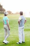 Couples jouants au golf sur le putting green Images libres de droits