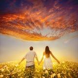 Couples jugeant des mains et des promenades parties Image libre de droits