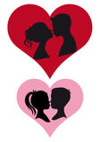 Couples kissing,. Adult and children couple kissing,  illustration Royalty Free Stock Image