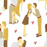 Couples kissing. Vector seamless pattern, St. Valentine design Royalty Free Stock Photos