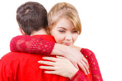 Couples La femme est triste et étant consolée par son associé Images libres de droits