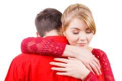 Couples La femme est triste et étant consolée par son associé Photos libres de droits