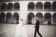 Couples les épousant magnifiques marchant dans la vieille ville image stock