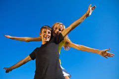 Couples in love have fun outdoors Royalty Free Stock Image