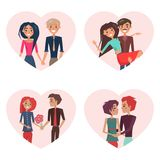 Couples in Love in Frames Vector Illustration. Couples in love, images in frames of heart shape, people holding hands, man carrying woman, boyfriend giving Royalty Free Stock Photography