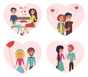 Couples in Love Images Set Vector Illustration. Couples in love images set, man and woman sitting on bench, girl with balloon and boy beside her, girlfriend and Royalty Free Stock Images
