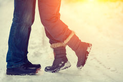 Couples in love outdoors in winter Royalty Free Stock Photography