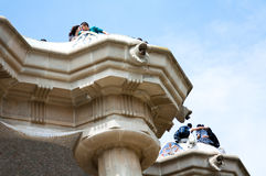 Couples in love at park Guell. Seen from below Stock Images