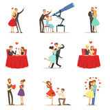 Couples In Love Romantic St. Valentine s Day Date, Lovers And Romance Collection Of Vector Illustrations Stock Photography