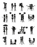 Couples in Love Silhouette Set Vector Illustration. Couples in love, silhouettes set, people sitting on bench, umbrella and bicycle, celebration of Valentines Stock Photography