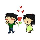 Couples of lover feeling love. Man giving flower Stock Photo