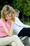 Couples mûrs ayant des problèmes de rapport Images libres de droits