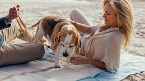 Couples mûrs détendant sur la plage avec un chiot Photographie stock