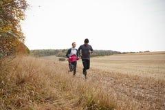 Couples mûrs fonctionnant autour d'Autumn Field Together Images libres de droits