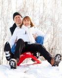 Couples mûrs heureux sledding photographie stock libre de droits