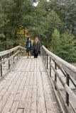 Couples mûrs marchant sur le pont en bois tenue de détente L vrai Photos stock