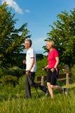 Couples mûrs ou aînés heureux faisant la marche de Nordic Photographie stock libre de droits